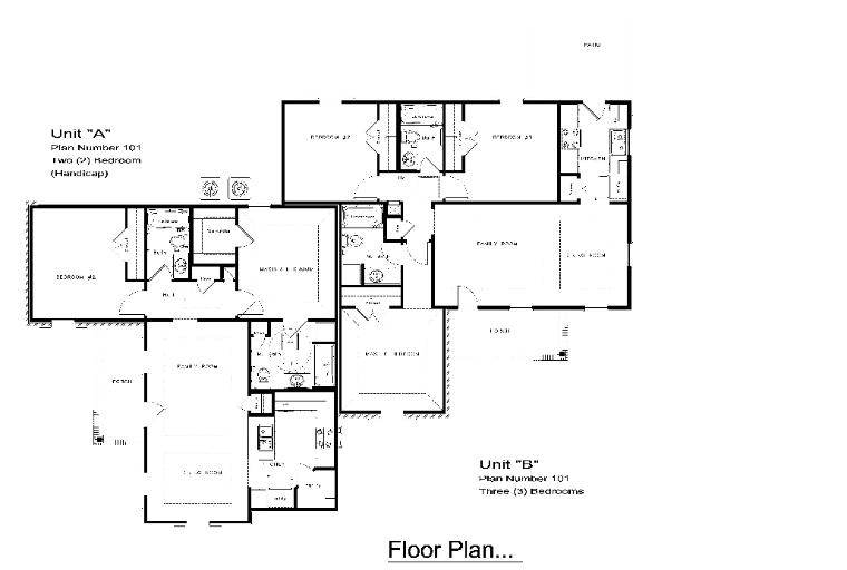 Two bedroom two bath house plans for 2 bedroom 1 bath duplex floor plans